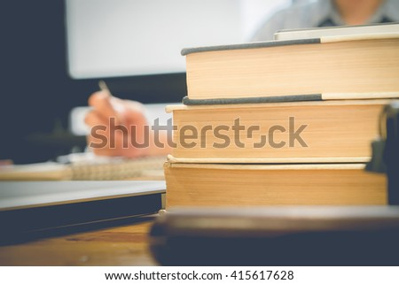 Vintage old books on wooden