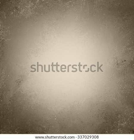 vintage old brown gold background texture layout, distressed aged background wall, painted brown paper image, faded white center and brown grunge border, antique background paper - stock photo