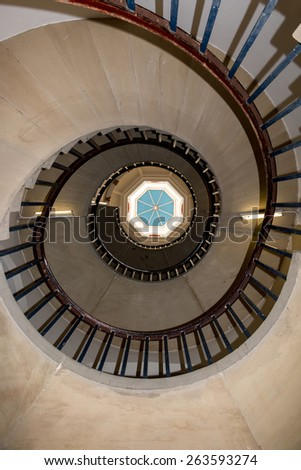 Vintage Old Building Spiral Staircase Bottom View