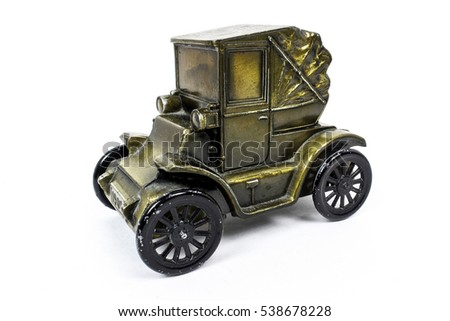 Vintage old car die-cast toy bank given away as promotional items from banks.