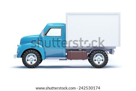 Vintage old delivery truck isolated on white. Side view - stock photo