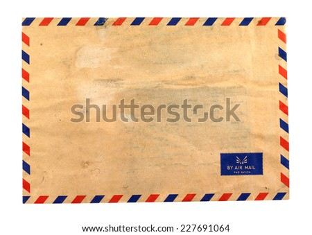 Vintage old envelope,mail isolate