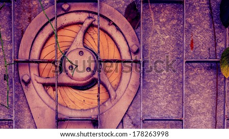 Vintage old exhaust fan on the wall - stock photo