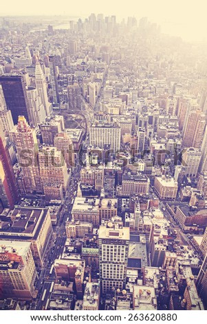 Vintage old film stylized aerial picture of New York City downtown, USA - stock photo