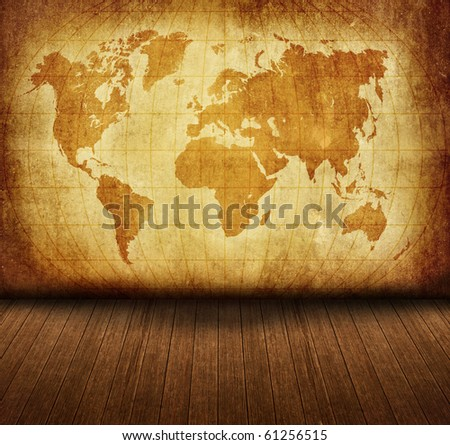 vintage old grunge map room style - stock photo