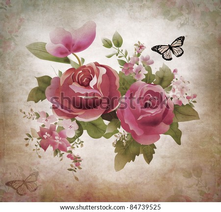 Vintage old grunge paper background with roses and butterfly