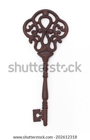 Vintage Old Key on white background - stock photo