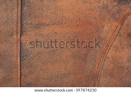Vintage old leather texture with name tag for background. Retro style filtered photo - stock photo