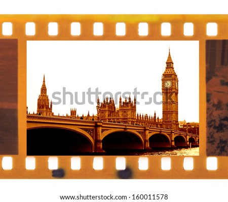 vintage old 35mm frame photo film with Famous and beautiful view to Big Ben and Westminster bridge - stock photo