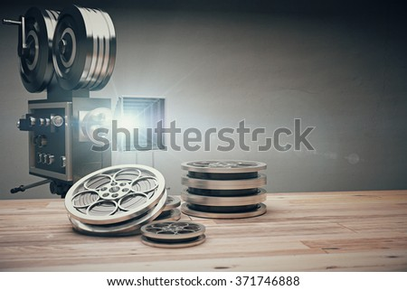 Vintage old movie camera and film cartridge on a wooden table 3D Render - stock photo