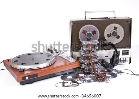 vintage old music object on white background - stock photo
