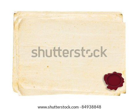 Vintage old paper Series with wax Seal on white background