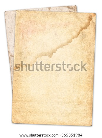 Vintage old paper texture isolated on white background