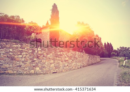 Vintage old photo of Tuscany with old tuscany road and free place  - stock photo