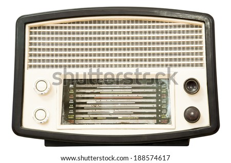 Vintage old radio isolated on white background, clipping path