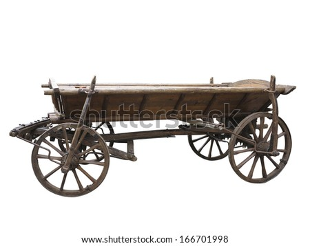 Vintage old rough wooden cart isolated on white background - stock photo