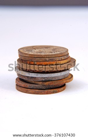 Vintage old rusty coins