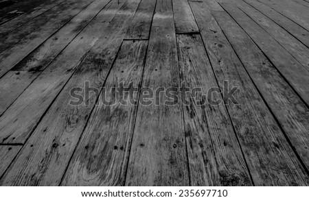 Vintage old teak boards. Background. Black and white. - stock photo