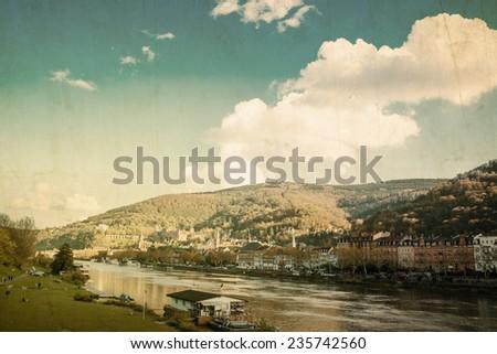 Vintage old town of Heidelberg, Germany  - stock photo