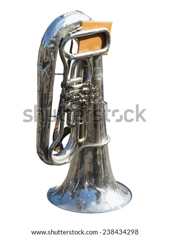 vintage old tuba with notes  isolated over white background - stock photo