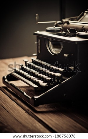 Vintage old typewriter, selective focus - stock photo