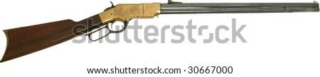 vintage old western rifle isolated on white - stock photo