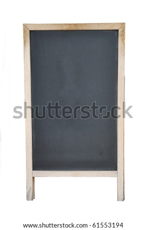 Vintage Old Wood Framed Chalkboard Menu Sign Isolated on White Background
