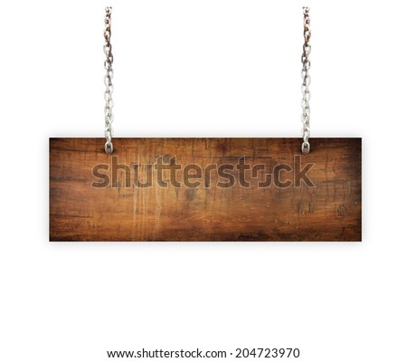 Vintage Old Wood sign isolated on white background. - stock photo