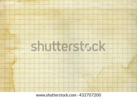 Vintage old worn math paper background. Closeup - stock photo