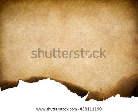 Vintage old worn paper texture with burnt edge background - stock photo