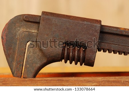 vintage old wrench - stock photo