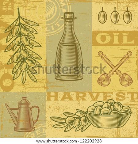 Vintage olive harvest background - stock photo