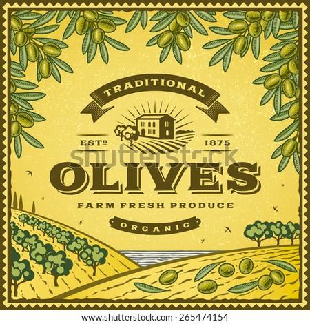 Vintage olives label - stock photo