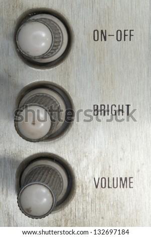 Vintage on-off bright volume tv control knob - stock photo