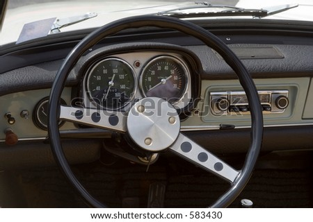 Vintage Opel - German Car - Dashboard and Wheel Closeup - stock photo