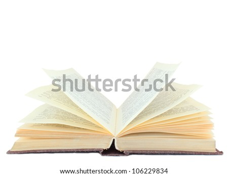 Vintage open book isolated on white background - stock photo