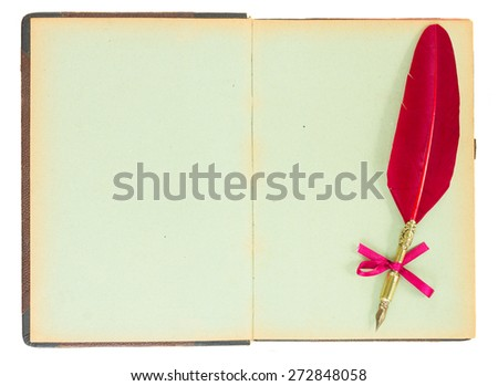 Vintage  open book with pen feather isolated on white background - stock photo