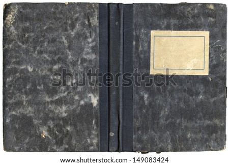 Vintage open diary or notebook cover with empty label and grungy surface - isolated on white - XL size - stock photo