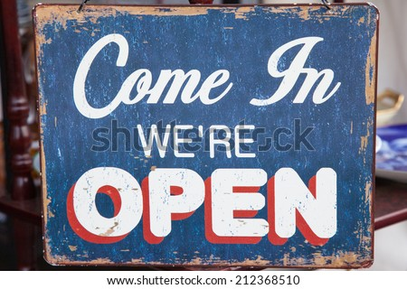 Vintage Open sign - stock photo