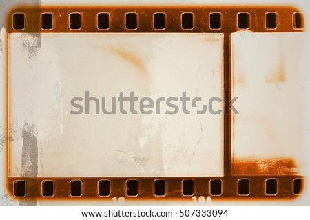 Vintage orange film strip frame.