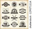 Vintage organic harvest stamps set - stock photo