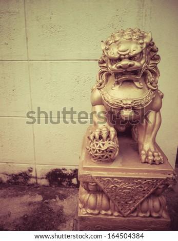 Vintage Oriental Lion - stock photo