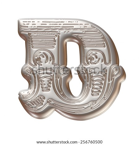Vintage ornament Metal Letter D isolated on white background - stock photo