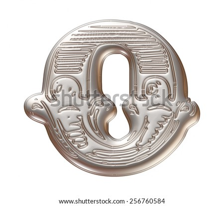 Vintage ornament Metal Letter O isolated on white background - stock photo