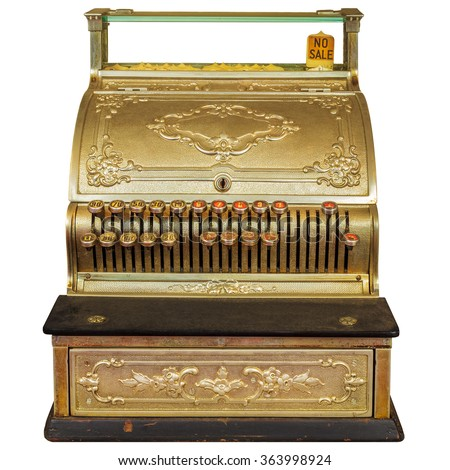 Vintage ornamental cash register isolated on a white background - stock photo