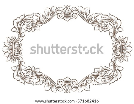 antique frame border. Antique Oval Frame Border. Beautiful Vintage Ornamental Oshaped  Empty Border Wreath With