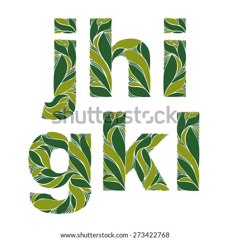 Vintage ornamental typeface, beautiful floral letters with green spring leaves. Flowery alphabet, g, h, I, j, k, l. - stock photo