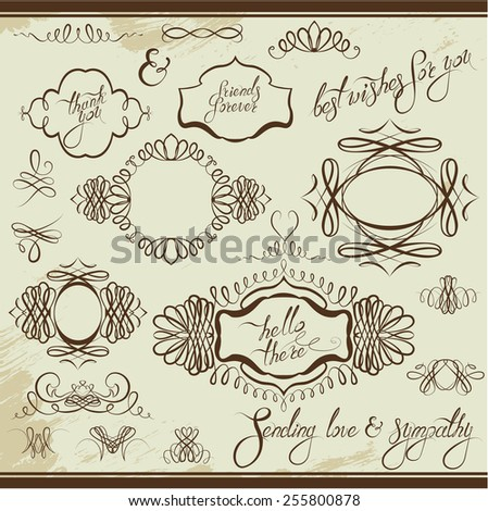 Vintage ornaments and frames, vignettes, calligraphic design elements for cards and invitation, page decoration, calligraphic text. raster version  - stock photo