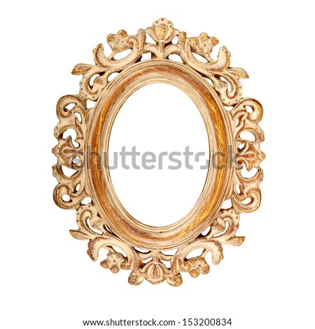 Vintage ornate oval picture frame - stock photo