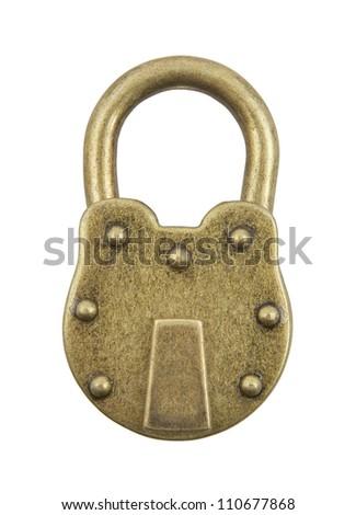 Vintage padlock isolated on white background - stock photo